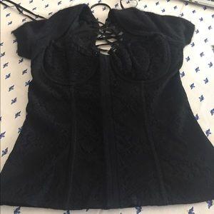 Moda International black fitted bodice top